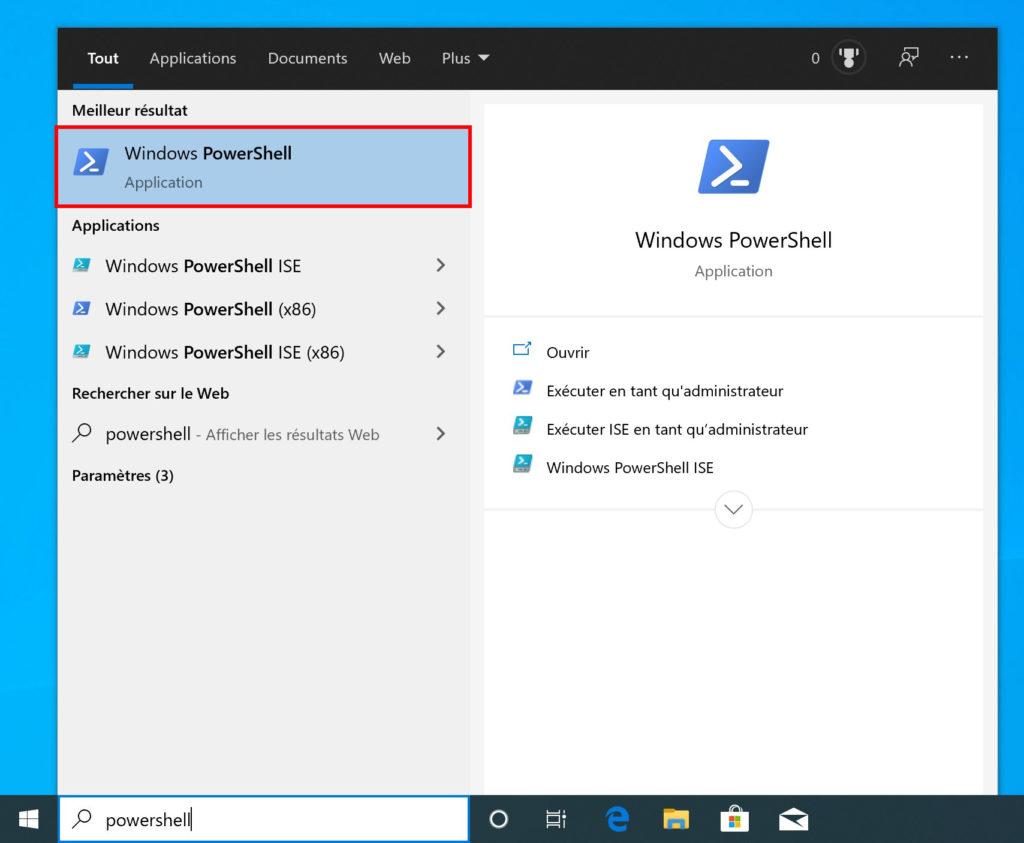 besoin d'une autre application pour ouvrir Windows Power Shell