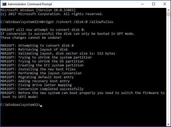Passer de BIOS à UEFI et MBR à GPT; la commande MBR2GPT